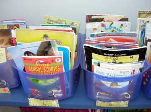 Too many lower level books for Grade 3.  The baskets are crammed.